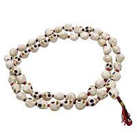 Ceramic Skull Bead Japa Mala 55 Beads Rosary Prayer Necklace Jewelry Meditation