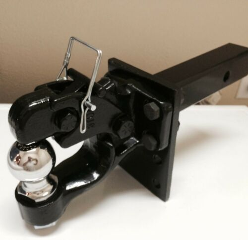 """Adjustable receiver BALL HITCH TOWING Heavy!! 2.5 ton PINTLE 2/"""" Ball"""