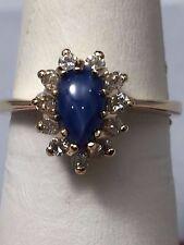14 KARAT YELLOW GOLD BLUE STAR SAPPHIRE AND DIAMOND RING SIZE 6.25