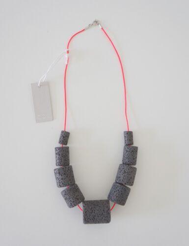 HOF115:COS Halskette stein beton grau Stone bead necklace grey neon pink