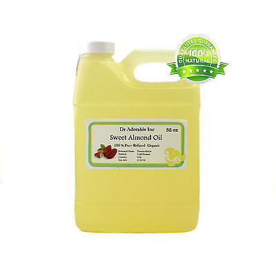 100% PURE SWEET ALMOND CARRIER OIL FOOD GRADE FOR SOAP MAKING PURE 32 OZ/1 QUART