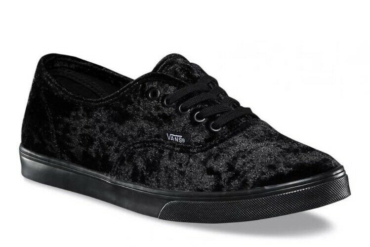 Vans Mens 4.5 Womens 6 Authentic Lo Pro Velvet Black Black Sole Sneakers shoes