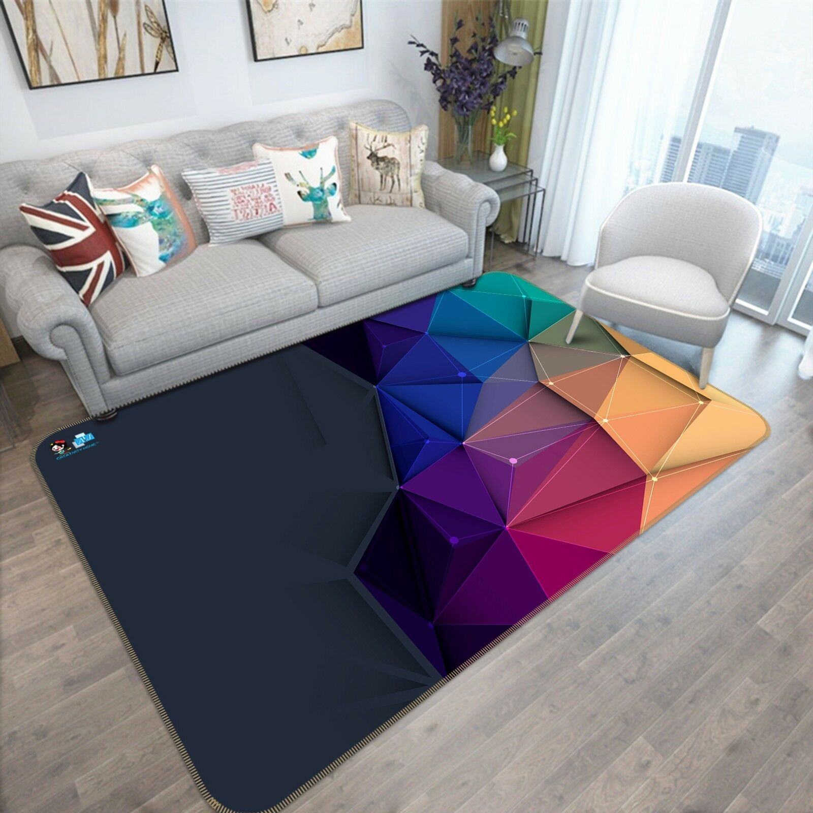 3D Triangle Geometry Line 2 Non Slip Rug Room Mat Quality Elegant Photo Carpet