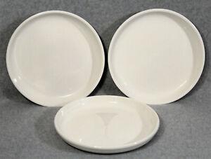 CRATE-amp-BARREL-STAXX-White-8-1-4-Porcelain-Salad-Plates-Coupe-Set-Of-3-EUC