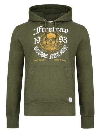 Firetrap Mens Hooded Sweatshirt Printed Skull Fleece Hoodie Top Grey Green Raven
