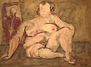 RALPH DUBIN 1919-1988 MODERNIST ABSTRACT NUDE STUDY PAINTING NEW YORK CITY