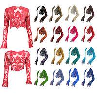 Ladies Lace Crochet Knit Mesh Shrug Shawl Womens Bolero Shrug One Size Fits 8-14
