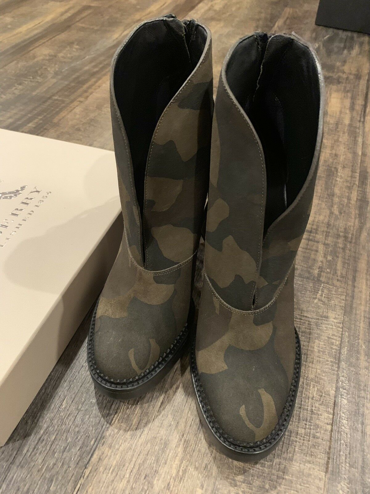 Burberry High Heels Bootie Boot Nadie Military Print 37
