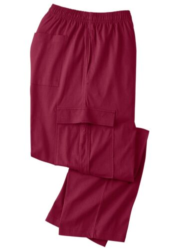 NWT King Size Jersey Knit Cargo Pants Red Wine XLT