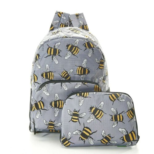 Eco Chic Bee Mini Backpack Rucksack Travel Folding Cabin Bag Animal Lovers Gift