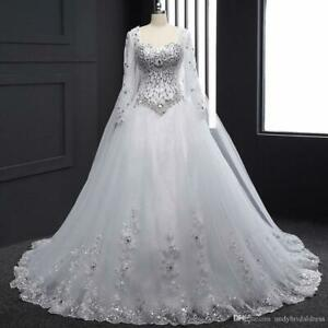 Ball Wedding Dress Bling Long Sleeve Applique Lace Princess Bridal Gown Custom Ebay