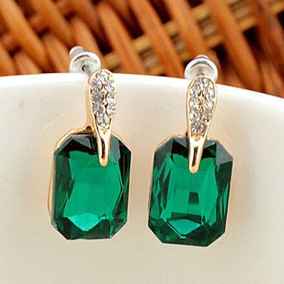 Vintage Elegant Womens Green Square Crystal Ear Stud Earrings Jewelry Gift