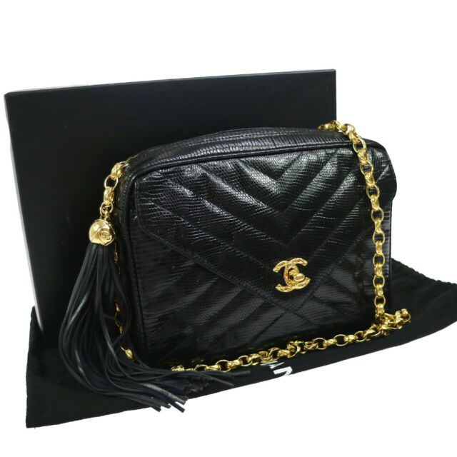 Authentic Chanel V Stitches Quilted Chain Shoulder Bag Black Lizard