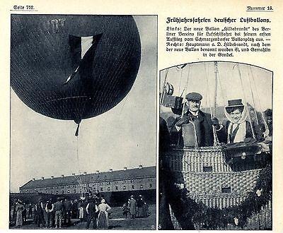 Zwei Bilddokumente 1909 100% Original Bilder & Fotos Ballon Hildebrandt Berliner Verein Für Luftschiffahrt