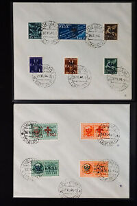 Italie-zones-Lot-de-deux-VF-Couvre-timbres-39-44-amp-29-32-apposee