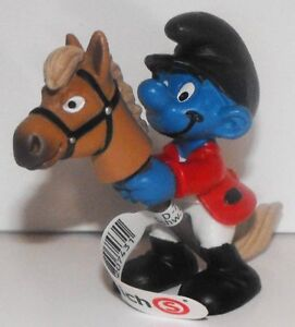 20743 Rider Smurf Plastic Figurine 2012 Olympic Sports Pony Horse Riding Figure