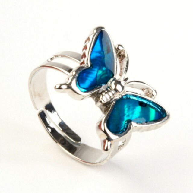 Girls Turquoise Genuine Paua Shell Design Ring with Silver Adjustable Band