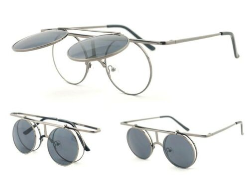Flip Up Sunglasses Mirror Len Metal Frame Round Glasses Steam Punk Retro Vintage