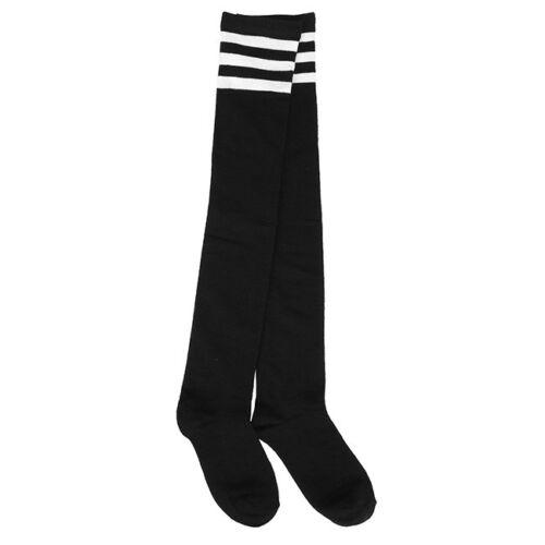 Vinatge Young Lady Over Knee Socks Sport Referee Fancy Strip Elastic Socks Hot