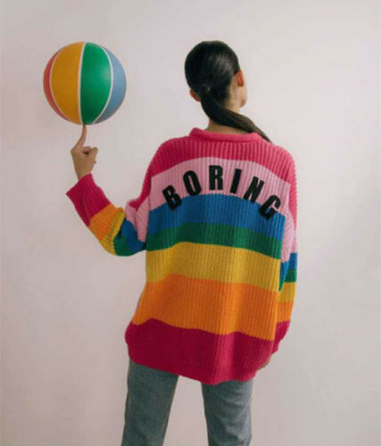 """Lazy Oaf Ms Fashion Inspired Rainbow color Sweater /""""BORING/"""" Cardigan Soft Jumper"""