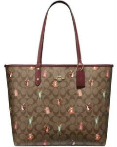 NWT-Coach-F80246-Reversible-City-Tote-Party-Animals-Signature-Saddle-Brown-350