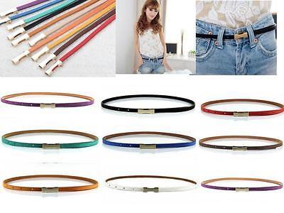 DI US Fashion Women Lady Thin Skinny Metal Gold Buckle Waistband PU Leather Belt