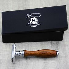 DE SAFETY RAZOR WITH WOODEN HANDLE FOR MEN'S .SUITS  ALL SKIN TYPES.