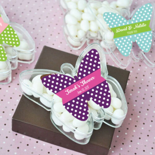 130 Personalized Acrylic Butterfly Wedding Favor Boxes
