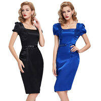 Vintage 50s Style GRACE Wiggle Party BLACK , BLUE Satin Pencil Dress