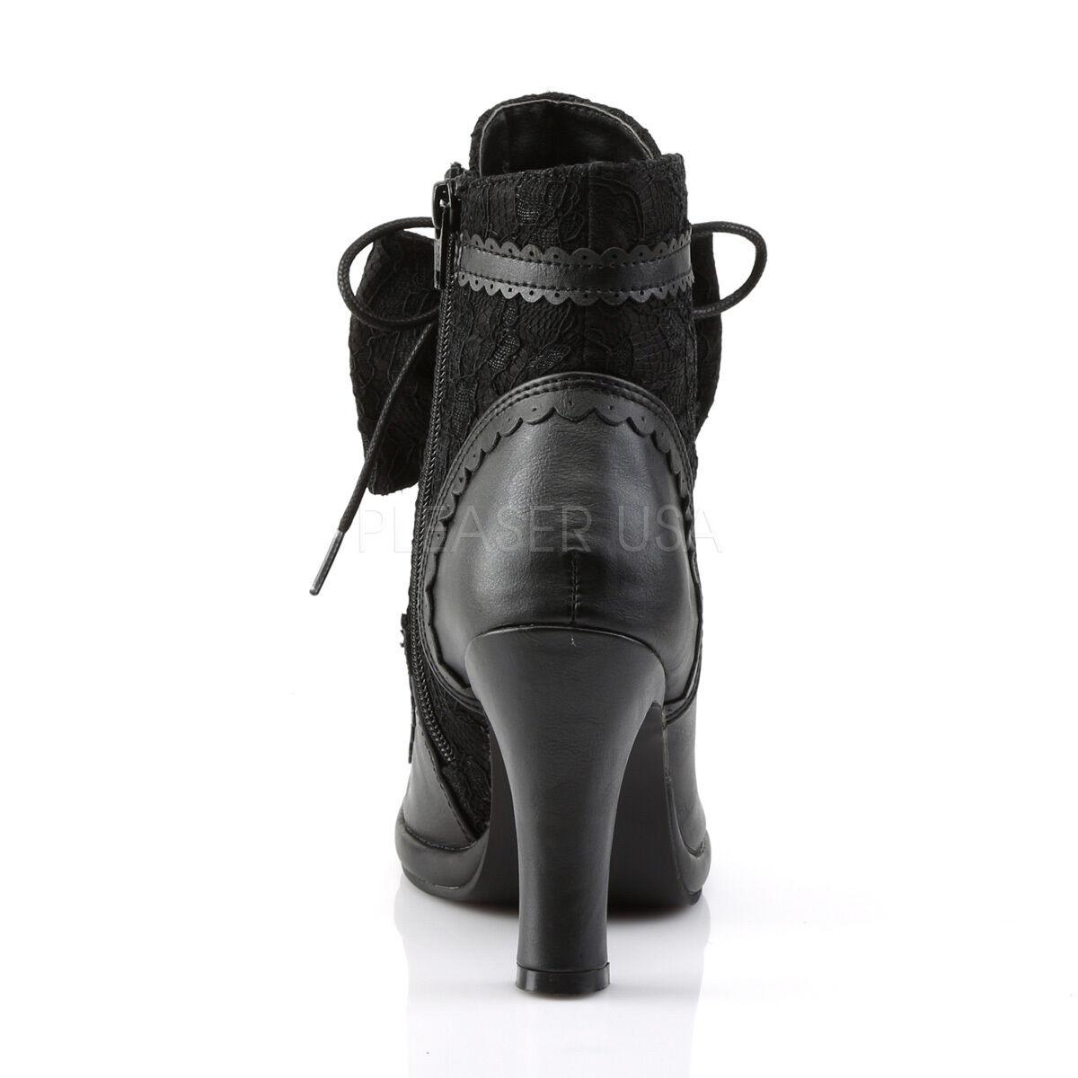 DEMONIA Gothic Punk Lolita Platform Ankle High Stiefel w/ Puffy Heart & Lace Bow