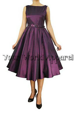HEPBURN STYLE DRESS PLUS SIZE EGGPLANT 1950's ROCKABILLY PINUP PROM RETRO SATIN
