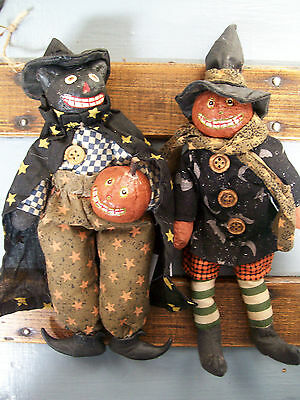 2 NWT Black CAT & PUMPKIN JACK O LANTERN Halloween Ornament Folk Art Dolls