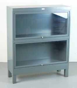 Image Is Loading Vintage Grey Steel Barrister Bookcase Retractable Gl