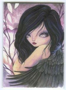 ACEO S/N L/E RAVEN FAIRY SOUL SPIRIT BLACK WINGS GOTHIC PURPLE EYES RARE PRINT