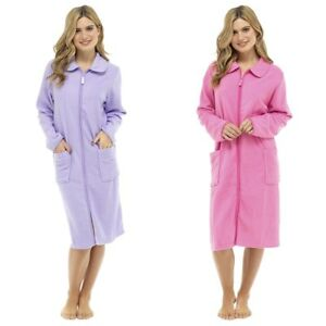 Womens Zipped Dressing Gown Ladies Plain Fleece Bathrobe Soft Zip Up Housecoat