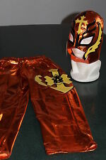 REY MYSTERIO ORANGE SUIT 6-10 year LYCRA naranja FANCY DRESS COSTUME OUTFIT