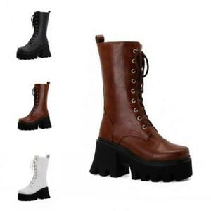 Punk Ladies Goth Mid Calf Biker Boots Platform Chunky Heel Lace Up Shoes Creeper