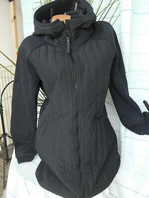 M bis XL Schwarz Ton Bench Jacke Mantel Damen Long Steppjacke Gr 041