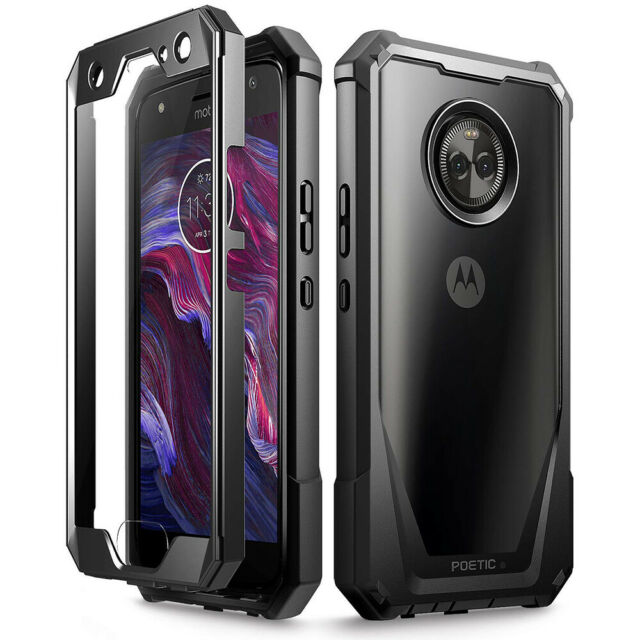 info for 38f6e 67119 for Moto X4 Case Poetic Guardian Series Clear Hybrid Bumper TPU Cover Black