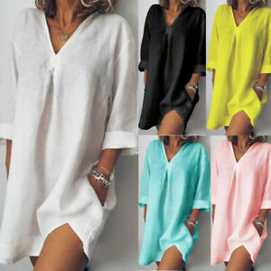 Women-Linen-Long-Shirt-Dress-3-4-Sleeved-Loose-Casual-Pure-V-Neck-Summer-Dress