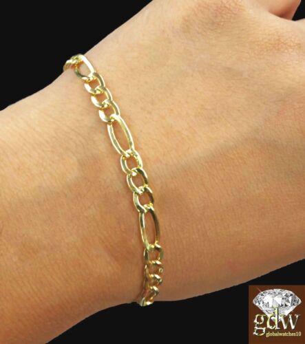 "Real 14k Figaro//Cuban Link Bracelet 8/"" Inch Men//Women,Lobster Clasp,Rope,Palm N"