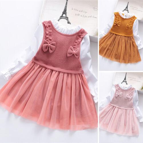 Baby Girl Kids Part Dress Long Sleeve Ruffled Mesh Swing Birthday Party Dresses