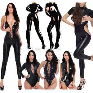 53732b51f10ec Womens Wet Look Leather Catsuit Bodysuit Clubwear Costume Lingerie ...