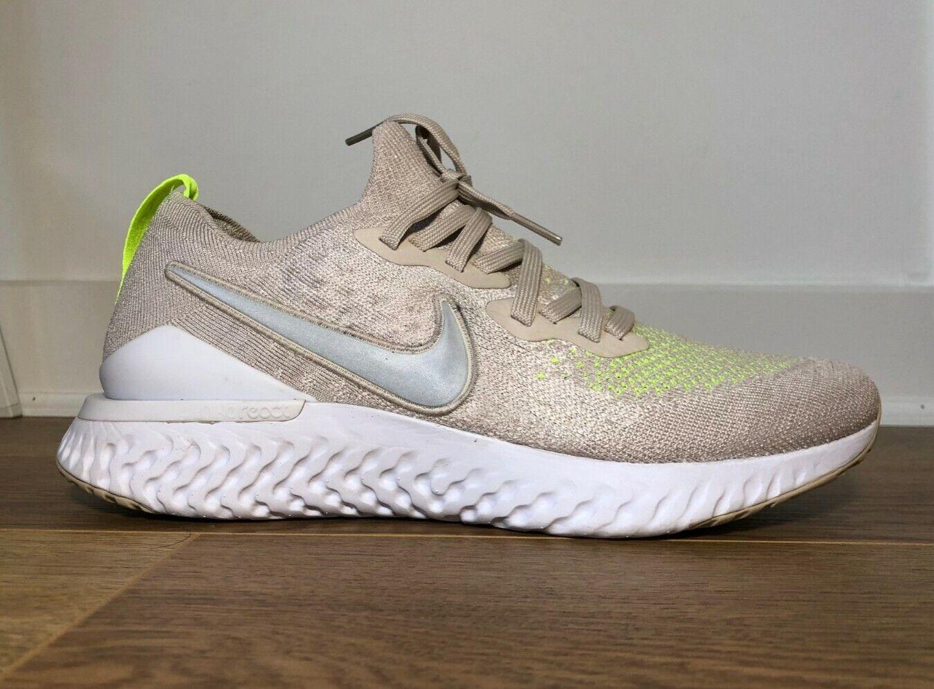 Nike Epic React Flyknit 2 Mens Desert Sand Reflect Silver UK8 EU42.5 CJ9695 002