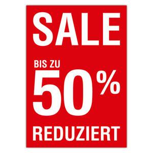 e545c2286b4938 Das Bild wird geladen Plakat-034-Sale-Reduziert-50-Prozent-034-DIN-