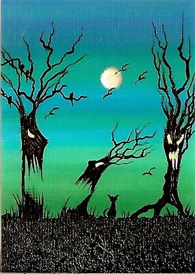 ACEO GLOSSY PRINT Spooky Forest Black Cats Halloween Moon Whimsical Print HYMES