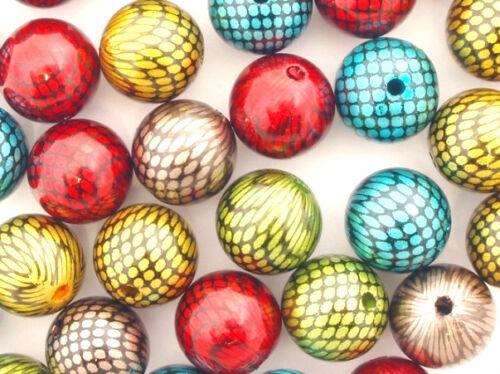 Acrylic Snakeskin Beads 14mm Round Fantasy 20x Mixed