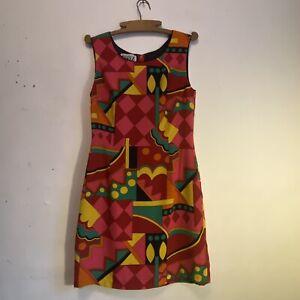 silk geometric shift dress