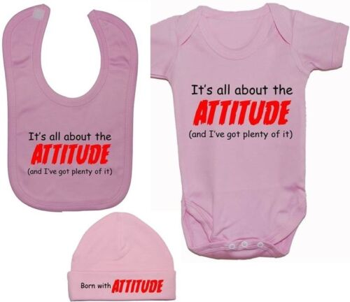 Body t-shirt bonnet newborn-12m s. Attitude Babygrow rompre l/'alimentation Bib /& chapeau