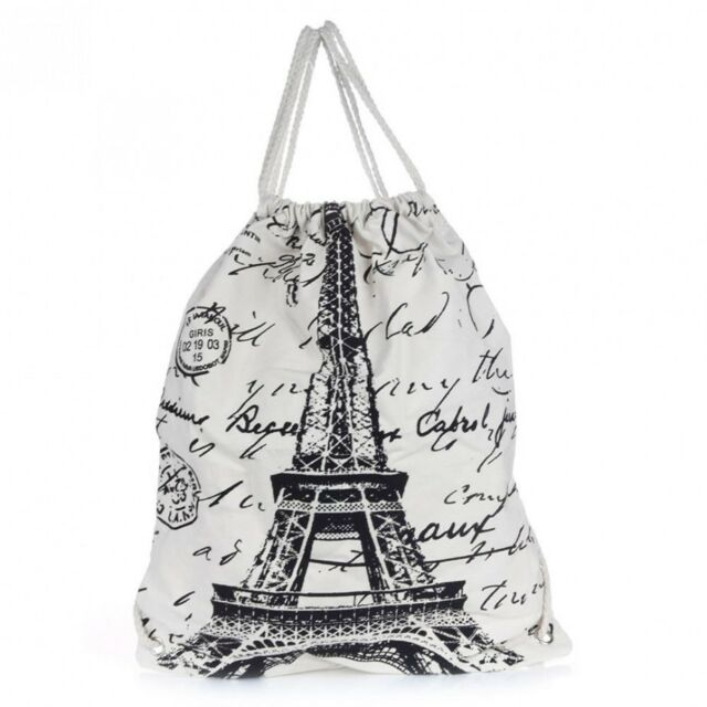 Canvas Draw String Cotton Backpack Eiffel Tower Day Pack Bag Rucksack Beach NEW